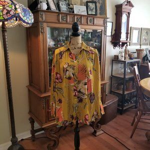 Free People golden print blouse size xs